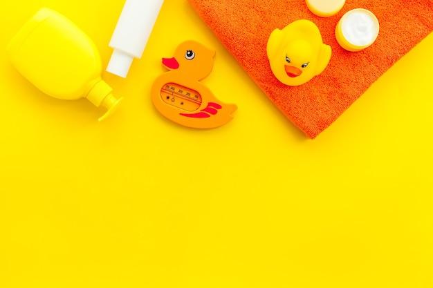 Bath accessories for kids yellow rubber ducktowel
