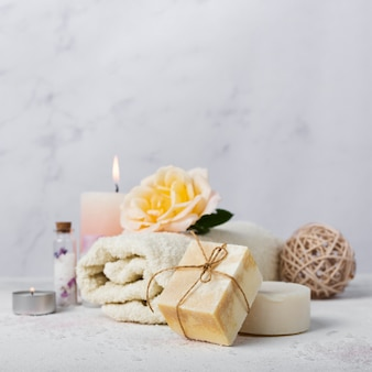 Bath arrangement with soap and towel