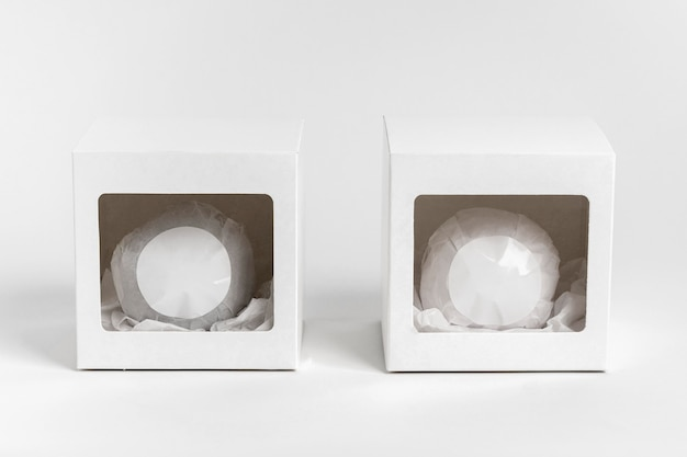 Bath bomb packaging on white background