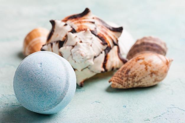 Bath bomb and seashells