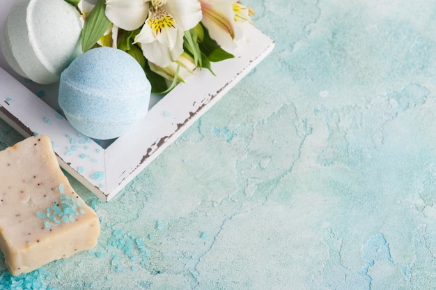 Bath bombs on blue concrete