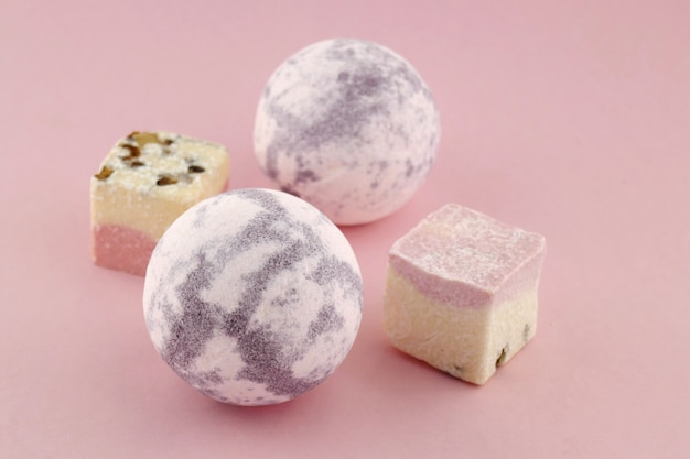 Bath bombs.cream bath bombs set with lavender extract on pink