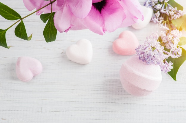 Bath bombs on old wooden table