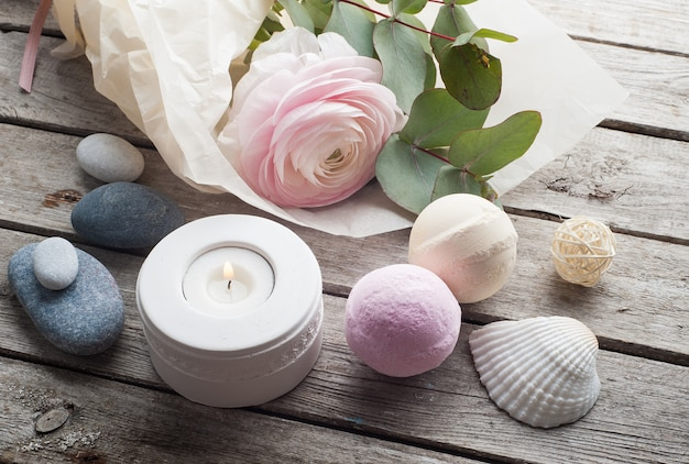Bath bombs on old wooden