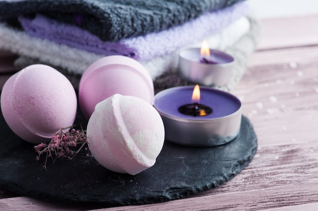 Bath bombs on stone plate