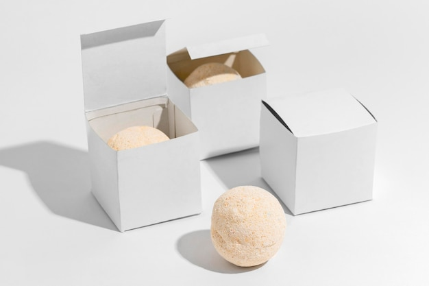 Bath bombs on white background