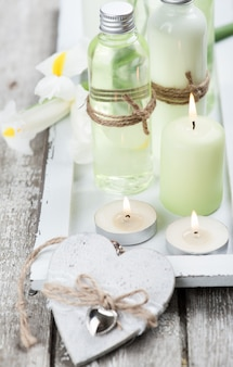 Bath products, candles