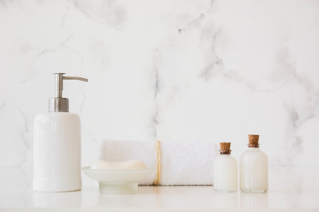 Bath products on table with copy space