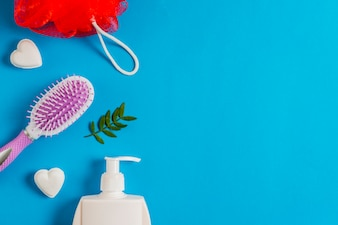 Bath puff; soap; dispenser bottle and leaves on blue background