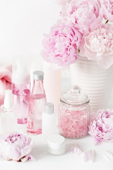 Bath and relax tools with peony flowers