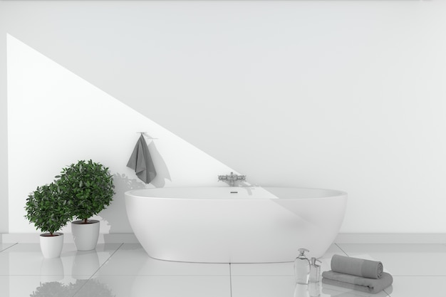 Bath room interior - beautiful bath with bright wall on ceramic floor. 3d rendering