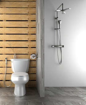 Bath room interior design - modern style. 3d rendering