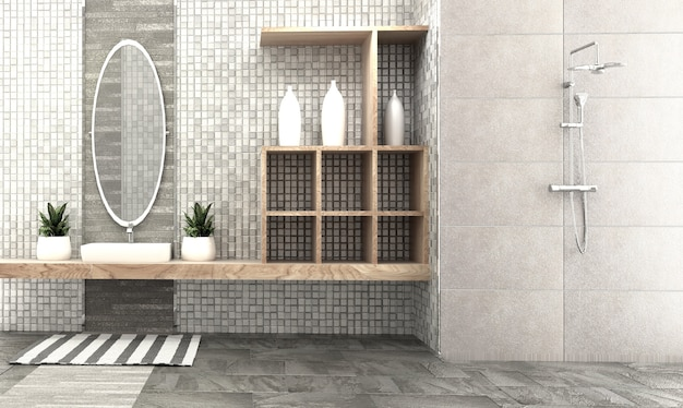 Bath room interior design - modern style. 3d rendering