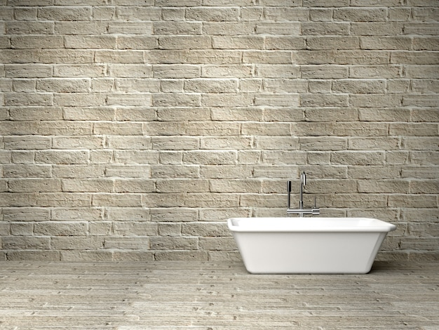 Bath tube in a room with rock wall, 3d rendering