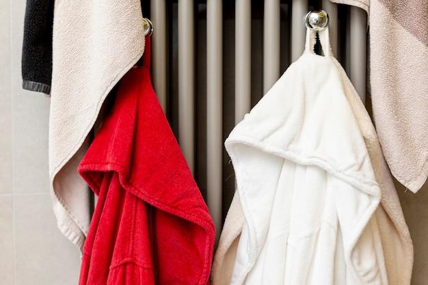 Bathrobes hanging in the bathroom