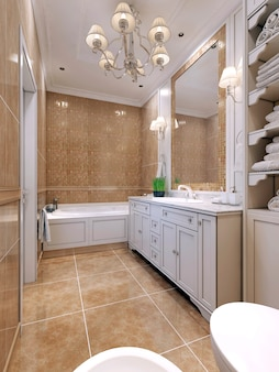 Bathroom art deco style with white furniture and large mirror with mosaic wall.