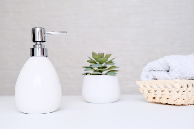 Bathroom background, toilet accessories for hand and body care