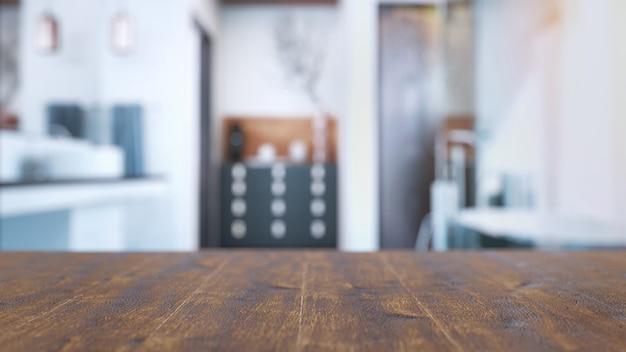 Ванная комната размыта, чтобы сделать фон и передний план - это деревянные тарелки 3d и иллюстрации