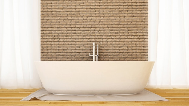 Bathroom brick wall decorate in home or apartment