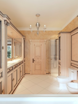 Bathroom in classic style with large window and wooden bathroom furniture. bathroom in yellow and orange tones. 3d render.