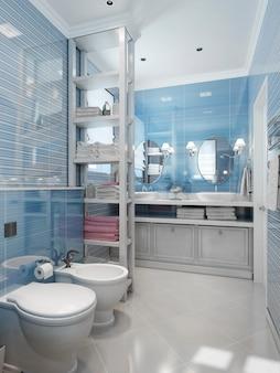 ブルーの色調のバスルームのクラシックスタイル
