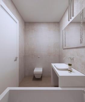 콘크리트 벽과 질감이있는 석고가있는 현대적인 욕실