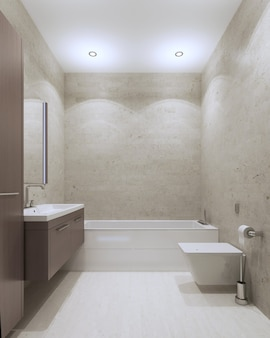 Ванная комната в современном стиле с фактурной штукатуркой на стенах и потолке, мебель средне-серо-коричневого цвета.