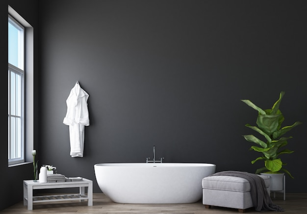 Bathroom design modern & loft with grey wall 3d rendering