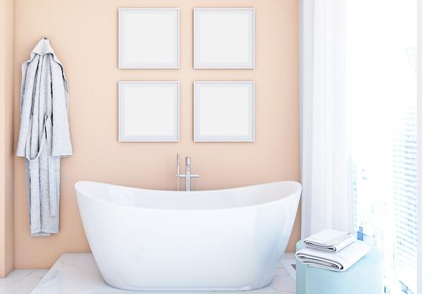 Макет рамы для ванной в розовом цвете