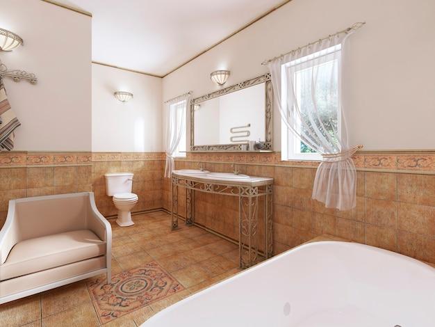 Ванная в классическом стиле с современной сантехникой и мебелью с цветочным горшком. 3d-рендеринг.