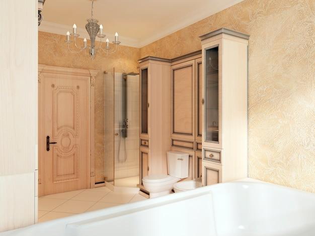 Ванная в классическом стиле с большим окном и деревянной мебелью для ванной. ванная в желто-оранжевых тонах. 3d визуализация.