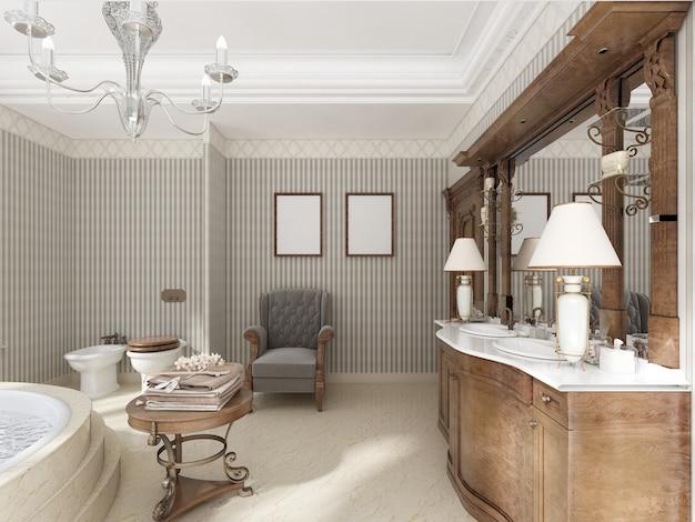 세면대 욕조와 대리석 계단이 있는 대형 원형 욕조가 있는 고급스러운 신고전주의 스타일의 욕실. 휴식을 위한 편안한 의자. 3d 렌더링.