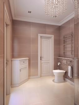 브라운과 스프루스 색상의 고전적인 스타일의 욕실.
