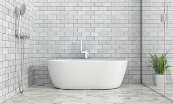 Bathroom interior bathtub, 3D rendering