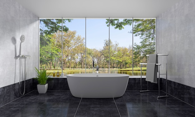 Bathroom interior bathtub and nature view 3d rendering