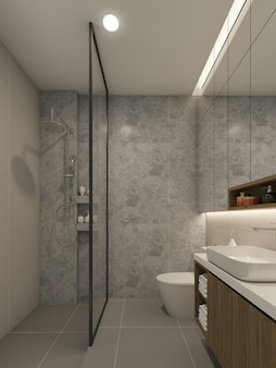 욕실 인테리어 디자인. 3d 렌더링