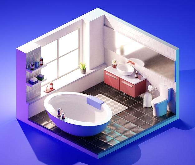욕실 인테리어 아이소메트릭. 3d 일러스트레이션