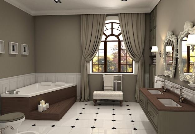 Ванная комната, визуализация интерьера, 3д иллюстрация