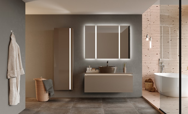 Bathroom interior with furniture and shower