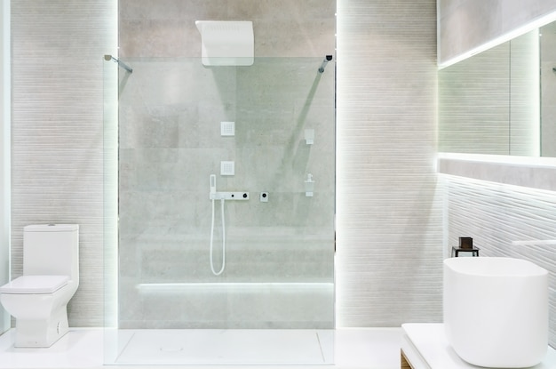Bathroom interior with white walls
