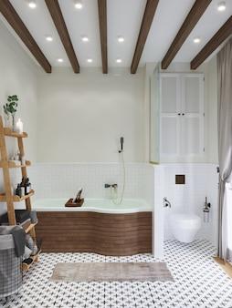 Интерьер ванной. деревянные балки на потолке. 3d визуализация.