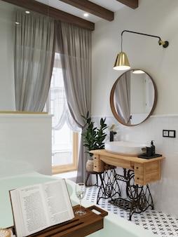 Интерьер ванной. деревянный поднос с книгой и стаканом. умывальник на шкафчике для швейной машины. 3d визуализация.