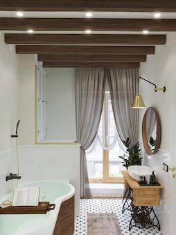 Интерьер ванной. деревянный поднос с книгой и стаканом. деревянные балки на потолке. 3d визуализация.
