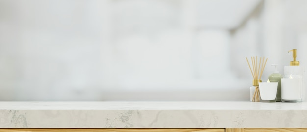 Bathroom marble table top with mockup space over blurred bathroom background 3d rendering