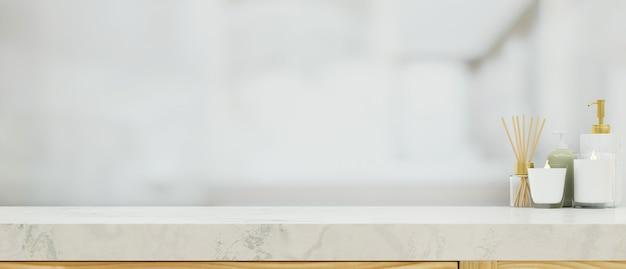 흐릿한 욕실 배경 3d 렌더링 위에 모형 공간이 있는 욕실 대리석 테이블 상단
