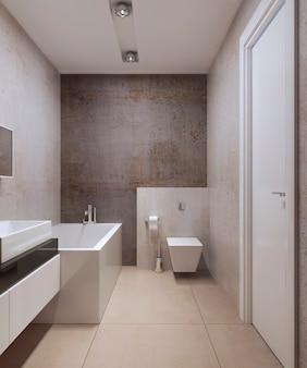 Ванная комната в стиле минимализма с белой мебелью и бетонными стенами