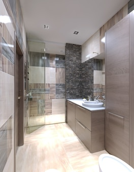 混合タイルの壁と明るい茶色の家具と光沢のある白いカウンタートップ付きのキャビネットを備えたバスルームのモダンなスタイル。
