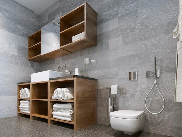 ホテルや家にぴったりの木製と天然石のバスルームを備えたモダンなバスルーム。