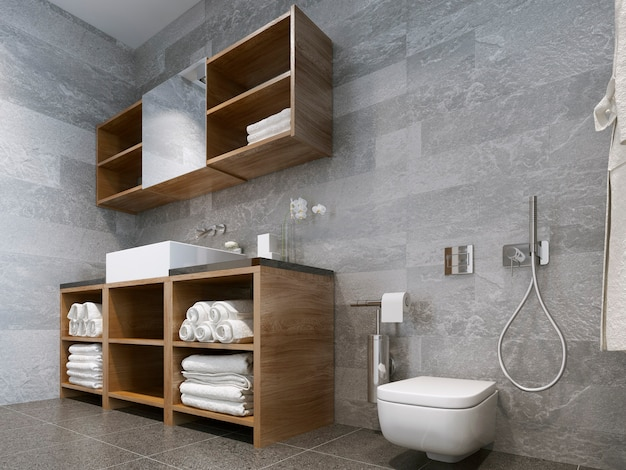 Bathroom modern style with wood and natural stone bathroom perfectly for a hotel or house.