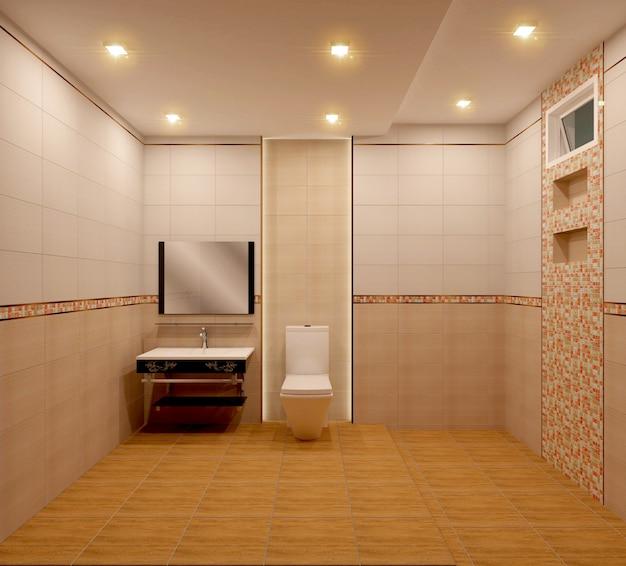 Bathroom orange tiles design and tiles mosaic design .3d rendering